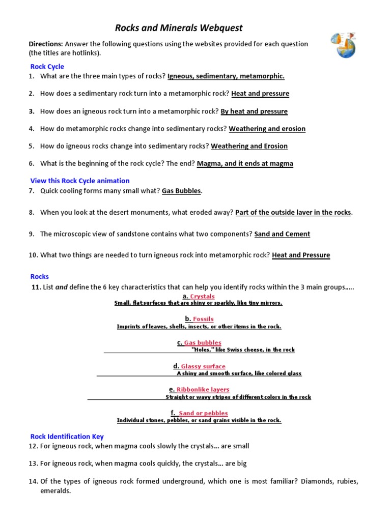 worksheet Sedimentary Rock Formation Worksheet rocks and minerals webquest sedimentary rock geology