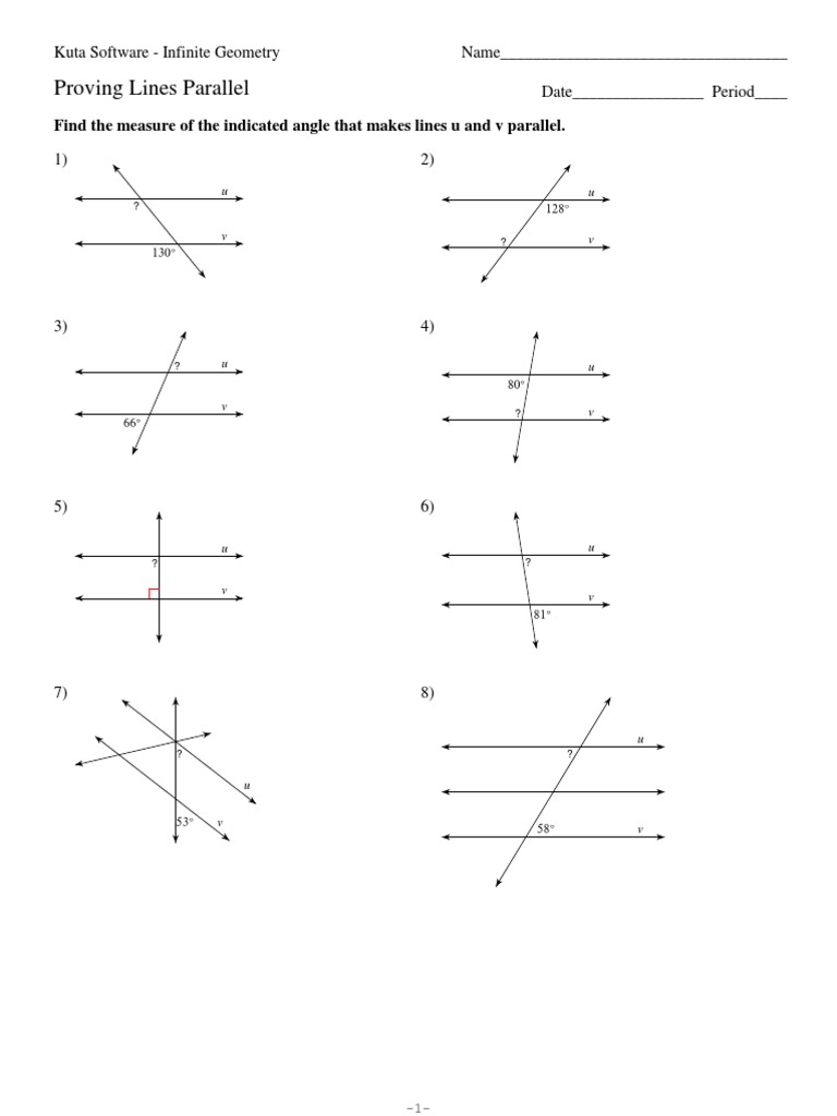 Parallel Lines And Transversal Measures Geometry Space
