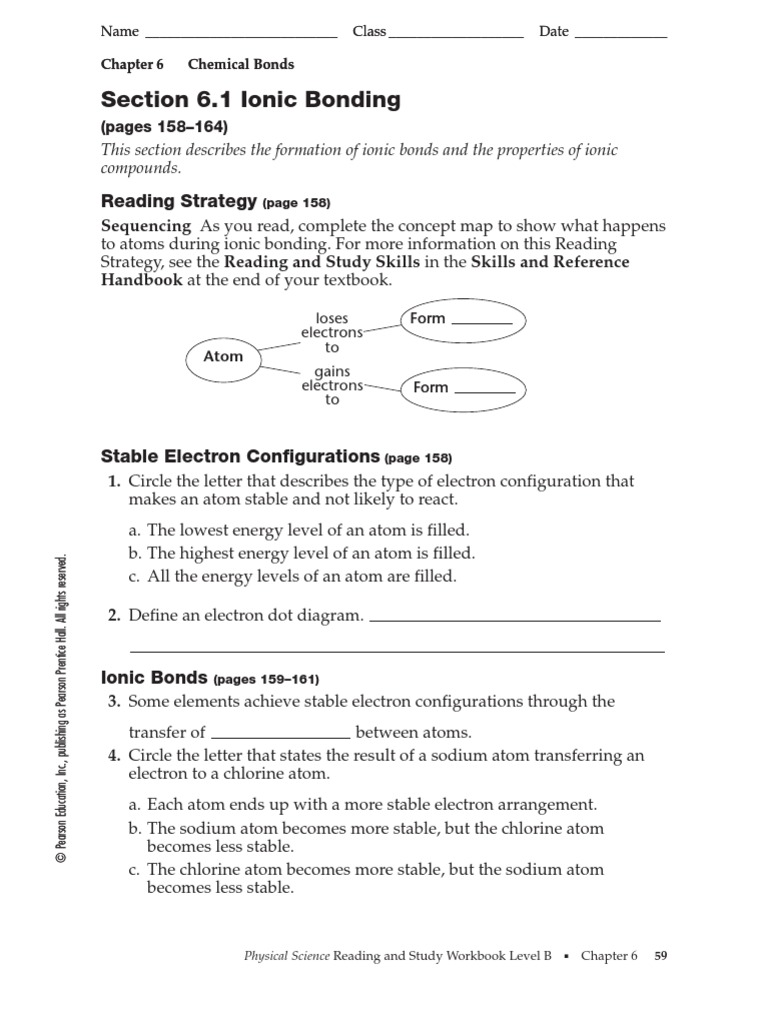 Worksheets Prentice Hall Physical Science Worksheets 6 1 ionic bonding ion chemical bond