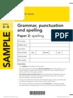 SAT KS2 English 2013 Specimen Grammar Punctuation Spelling Paper 2 Spelling