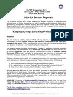 Invitation for Session Proposals 5 9 14