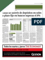 Tasas de Interés de Depósitos en Soles a Plazo Fijo en Bancos Superan El 8%_Gestión 24-09-2014