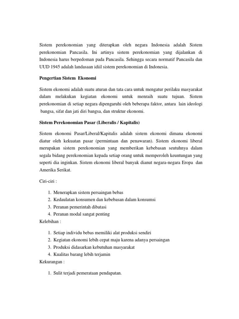 Kelemahan Dan Kelebihan Sistem Perekonomian Indonesia