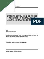 CONSTANTINO, Patricia. Entre as Escolhas e Os Riscos Possiveis - Inserção Das Jovens No Tráfico de Drogas