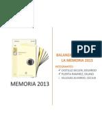 Balanza Comercial de La Memoria 2013