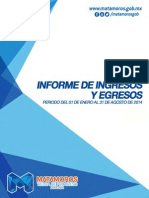 Tesoreria Informe de Ingresos y Egresos Agosto 2014