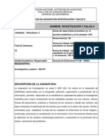 Descripcion de Asignatura Investigacion en Salud II, 2014
