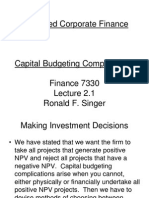 7330 Lecture 02.1 Capital Budgeting Complications F10