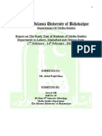 Study Tour Report for The Islamia University of Bahawalpur