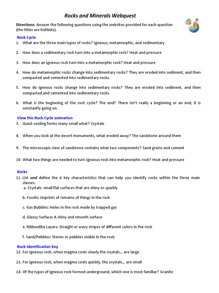 Worksheets Sedimentary Rocks Worksheet rocks and minerals webquest 2 sedimentary rock geology