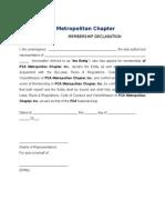 PCA Metro New Member Declaration