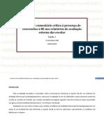 Análise e comentário crítico à presença de referências à BE nos relatórios de avaliação externa das escolas
