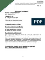 25-09-14 Orden Del Día - C. de Diputados