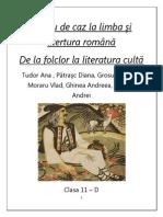 De La Folclor La Literatura Culta studiu de caz clasa a11a