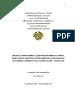 Diseño de Un Programa de Concientización Ambiental Para El Manejo de Los Desechos Sólidos Domésticos de La Parroquia Vista Hermosa, Municipio Heres, Ciudad Bolívar – Edo Bolívar.