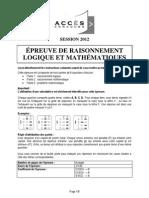 2012QRlm Epreuve de Raisonnement Logique Et Mathematique