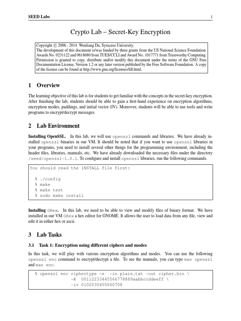Lab1 Crypto Encryption | Espionage Techniques | Security Engineering