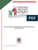 Informe de Resultados de la Cuenta Pública del Gobierno del Estado por el ejercicio fiscal de 2013 - RESUMEN