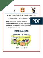 Plan Curricular Diversificado de Industria Del Vestido 2010