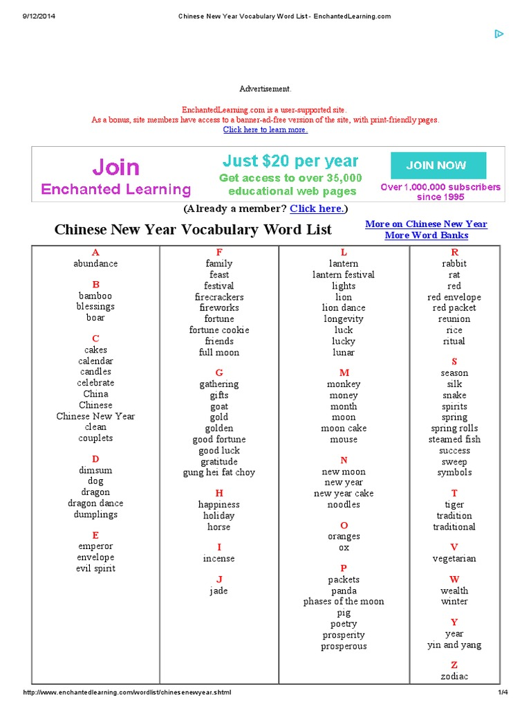chinese new year vocabulary word list enchantedlearning languages - Chinese New Year 1995
