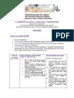 IV Jornadas de Lengua, Literatura y Comunicación Programa Definitivo