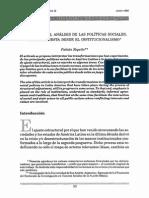 Notas Para El Analisis de Las Politicas Sociales