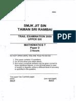 STPM Trials 2009 Math T Paper 2 (Jit Sin)