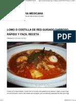 Lomo o Costilla de Res Guisado Sabroso Rápido y Facil Receta _ Cocina Casera Mexicana