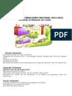 Calendario Celebraciones Pastoral 2013