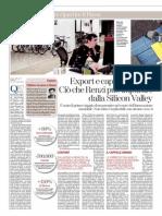 La Stampa - Export e capitale umano. Ciò che Renzi può imparare dalla Silicon Valley