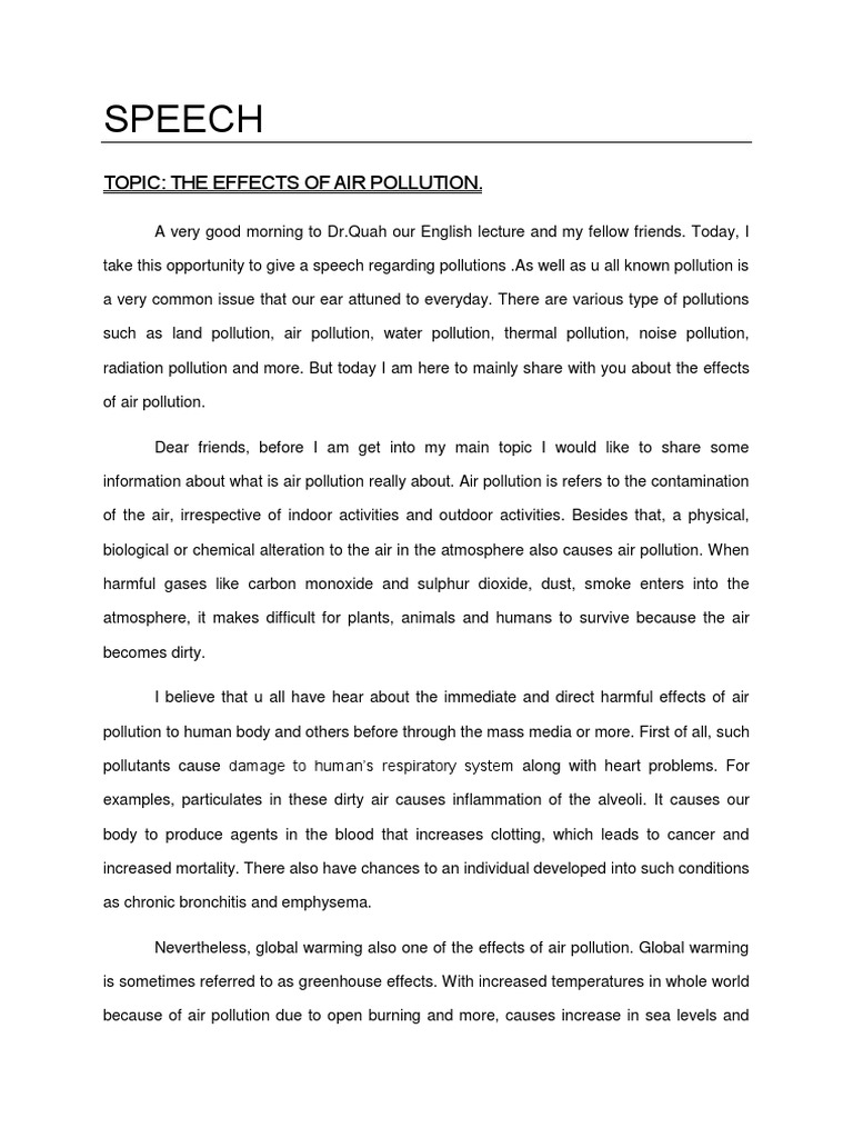 speech on pollution in english