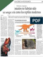Los dinosaurios no habrían sido de sangre fria como los reptiles modernos -El Mercurio de Stgo. 13-06-2014.pdf