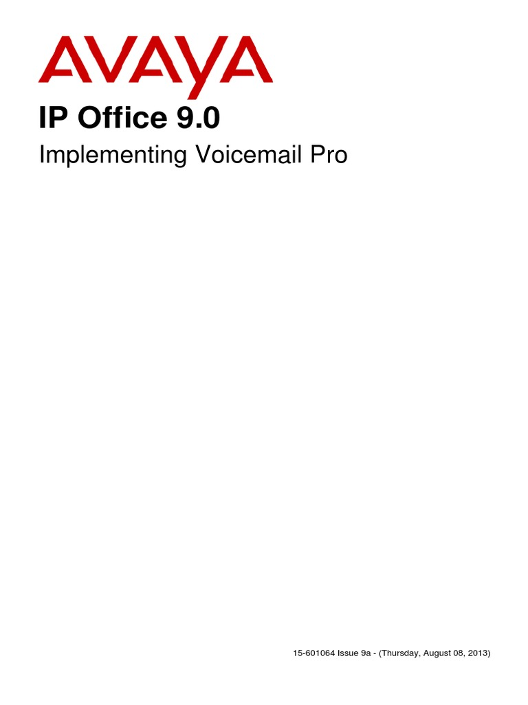 Avaya Ip Office 90 Implementing Voicemail Pro Voicemail