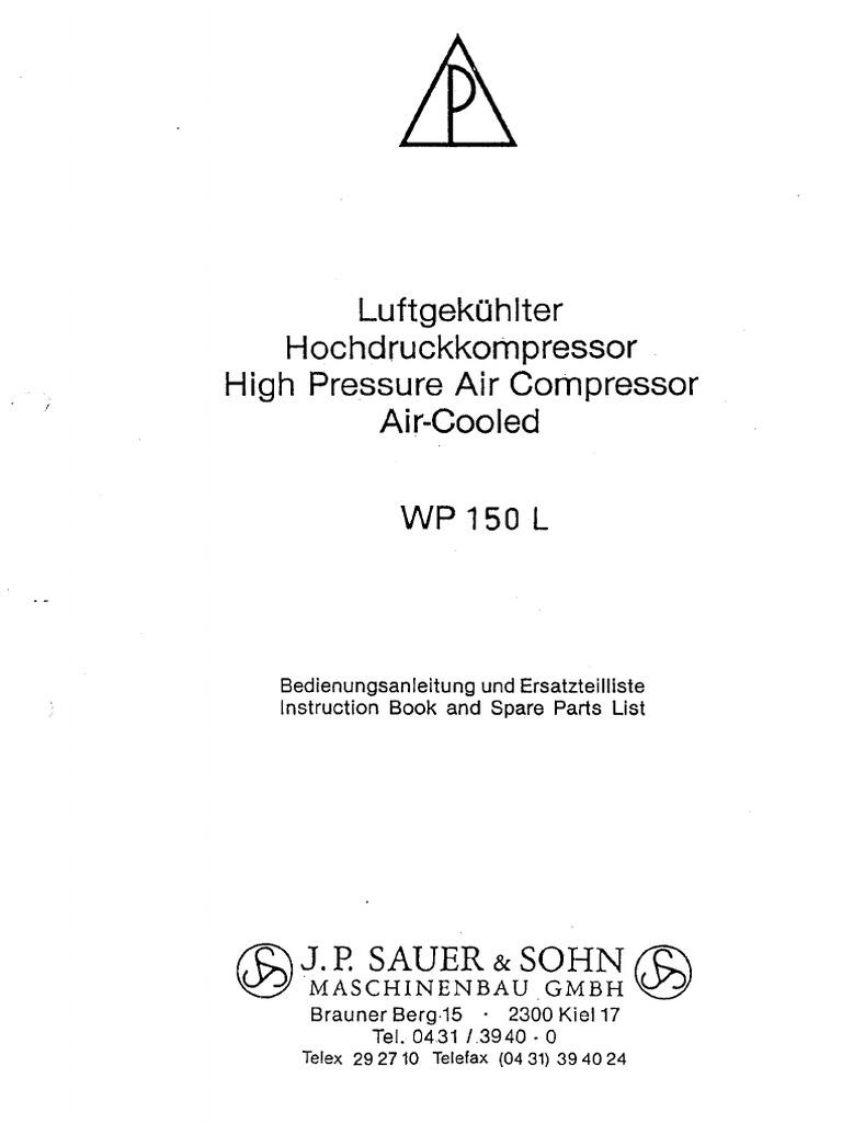 Jp Sauer Sohn Wp150l Manualpdf Rotating Machines Mechanical