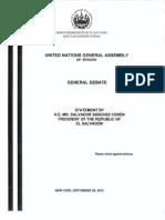 UNGA - United Nations General Assembly El Salvador Speech 2014
