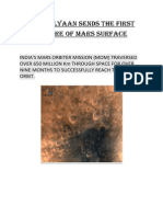 Mangalyaan Sends the First Picture of Mars Surface