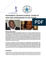Mutharika's 100 Days in Office a Road of Hope _and_apprehension to the Future Copy