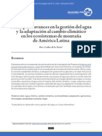 Principales avances en la gestión del agua y la adaptación al cambio climático en los ecosistemas de montaña de América Latina