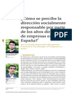 ¿Cómo se percibe la dirección socialmente responsable por parte de los altos directivos de empresas en España?