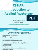Lecture 1-Introduction to the Discipline of Applied Psychology