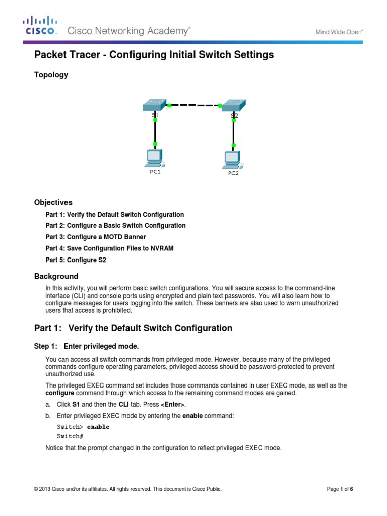 2233 Packet Tracer Configuring Initial Switch Settings Cisco Diagram Instructions Command Line Interface Password