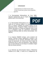 Comunicado Municipalidad Metropolitana de Lima