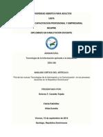 Analisis Critico Articulo Rol de Las Tics en Los Procesos Docentes, d. c.