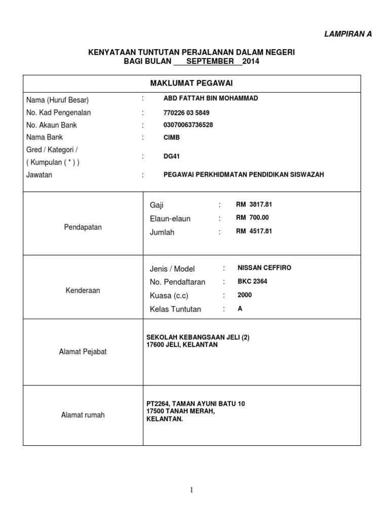Borang Tuntutan Perjalanan 2018