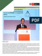 Discurso del Presidente de la República,  Ollanta Humala Tasso, en la Ceremonia  de Cierre de PERUMIN - 31° Convención  Minera