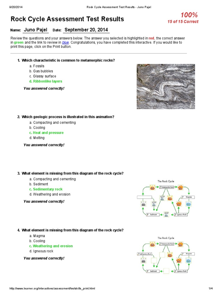 Rock cycle assessment test results rock geology geology ccuart Image collections