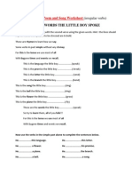 0 Simple Past Tense Poem and Song Worksheet