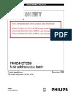 74HCT259D 8-bit addressable latch DATA SHEET