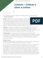 Design e Contexto – Críticas e Reflexões Sobre a Cultura Do Design-A4