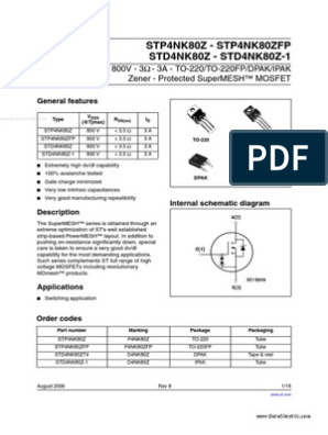 4x STD4NK80ZT4 Transistor N-MOSFET unipolaire 800 V 1.89 A 80 W DPAK